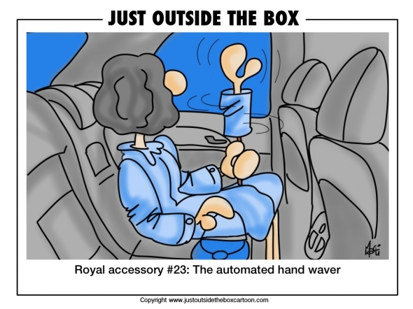 Queen Elizabeth using the automated hand waver