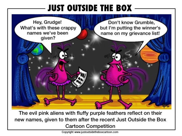 Evil pink aliens discussing the latest naming competition