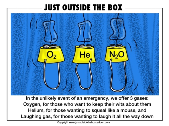 oxygen, laughing gas, helium