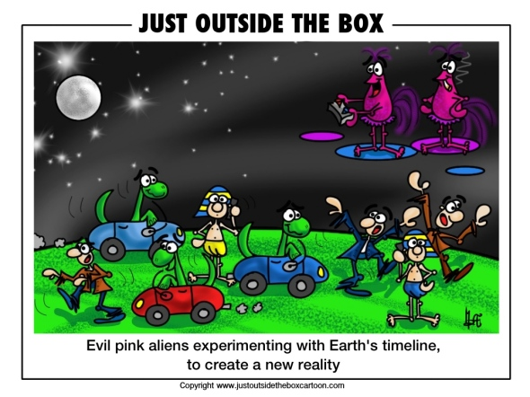 Evil pink aliens Grumble and Grudge experiment on earth's timeline