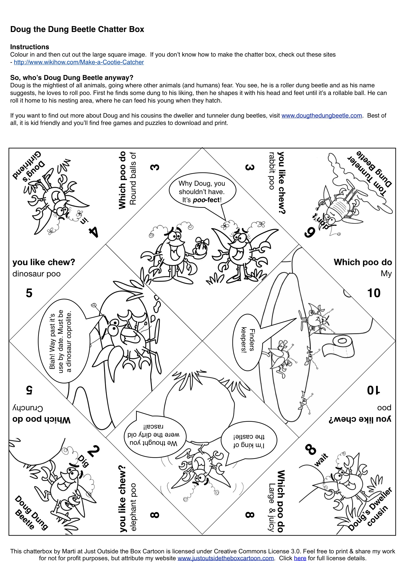 Cootie catcher archives just outside the box cartoon for How to make a chatterbox template