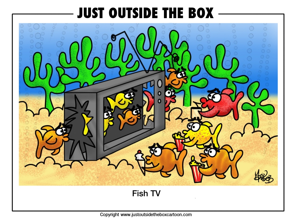 fish tv just outside the box cartoon