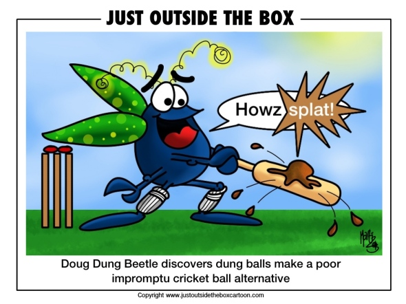 Doug dung beetle playing dung ball cricket