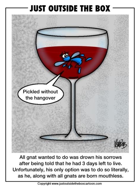 Wine glass full of gnat