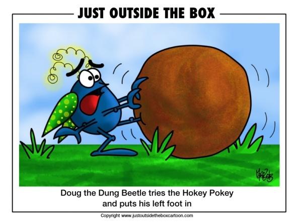 Doug the dung beetle does the hokey pokey