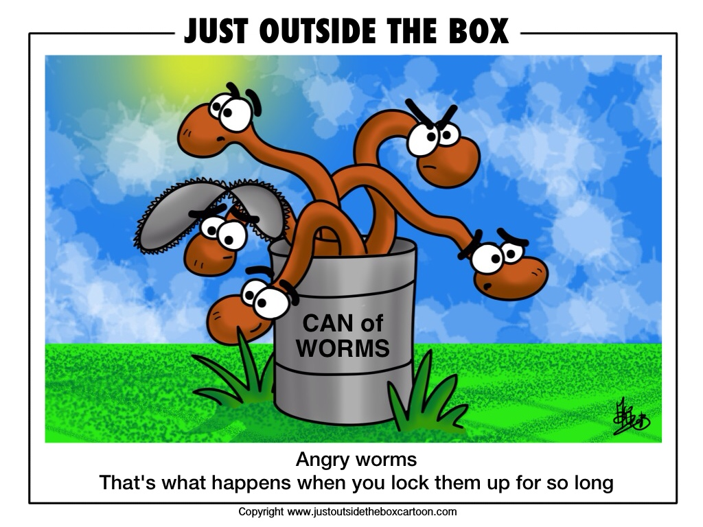 Worm Just Outside The Box Cartoon